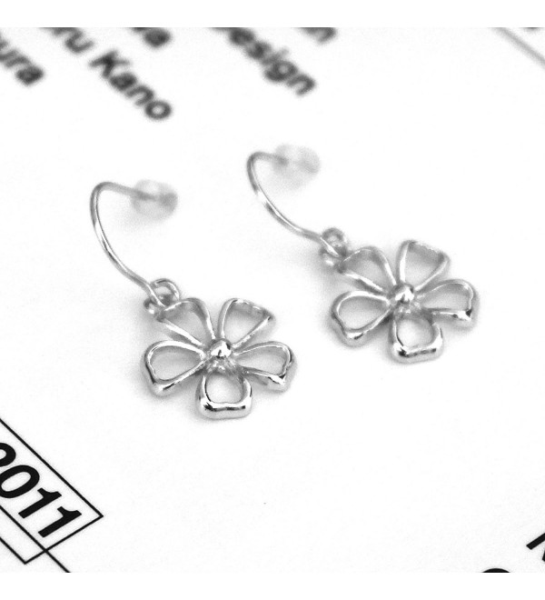Solid Sterling Silver Rhodium Plated Daisy Flower Dangle Earrings - CN11FUD89Y3