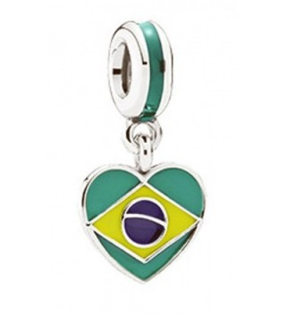 "Best Wing Jewelry ""Brazil Flag on Heart"" Charm Bead - CP17AZ34U9O"