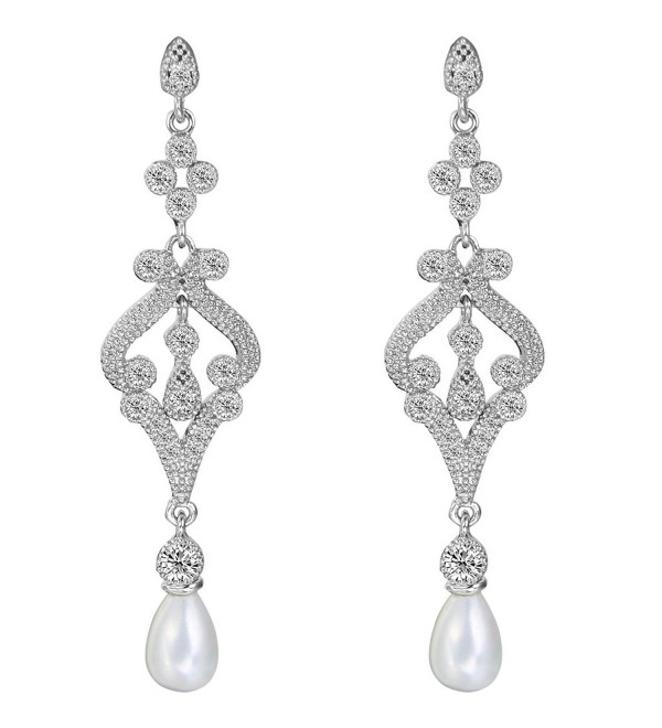 EVER FAITH Silver-Tone Pave CZ Cream Simulated Pearl Vintage Style Chandelier Dangle Earrings Clear - C5128M0EA79