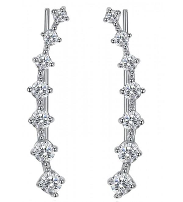 CZ Ear Climber Crawler Cuff Wrap Pierced Pins Earrings 7 Cubic Zirconia White Gold Tone Hypoallergenic - CW1824AX2W0
