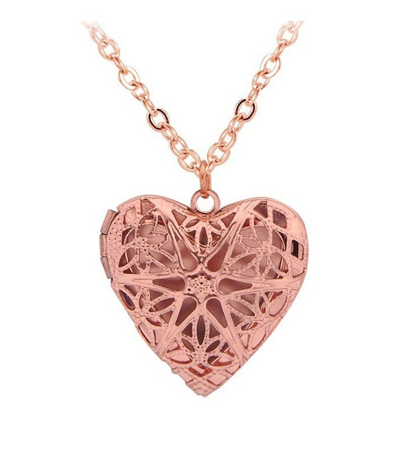 Vintage Hollow Out Filigree Love Heart Photo Locket Pendant Necklace Mother's Day Gifts - Rose Golden - CW17Z30XAML