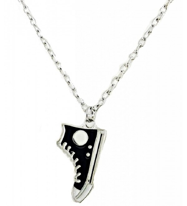 Fun Retro Black and White Sneaker/Shoe Charm Necklace in Antique Silver Toned Overlay - CY11HOJNCO3