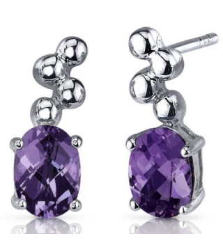 Simulated Alexandrite Oval Cut Earrings Sterling Silver Rhodium Nickel Finish Bubble Design - C0116NSDART