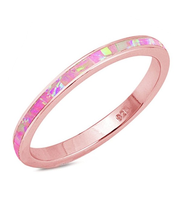 Rose Gold Plated Pink Opal Band .925 Sterling Silver Ring Sizes 4-13 - CI183ESGRYZ