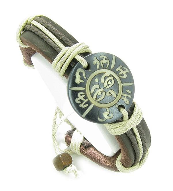 Amulet Leather Bracelet All Seeing Eye of Buddha OM Mantra Lucky Charm - CU118Y0KOVF