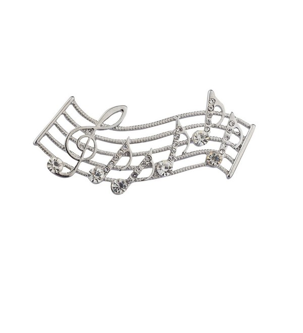 Lux Accessories Silvertone Musical Notes Brooch - CF12EXTIK9D