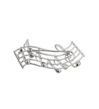 Lux Accessories Silvertone Musical Brooch