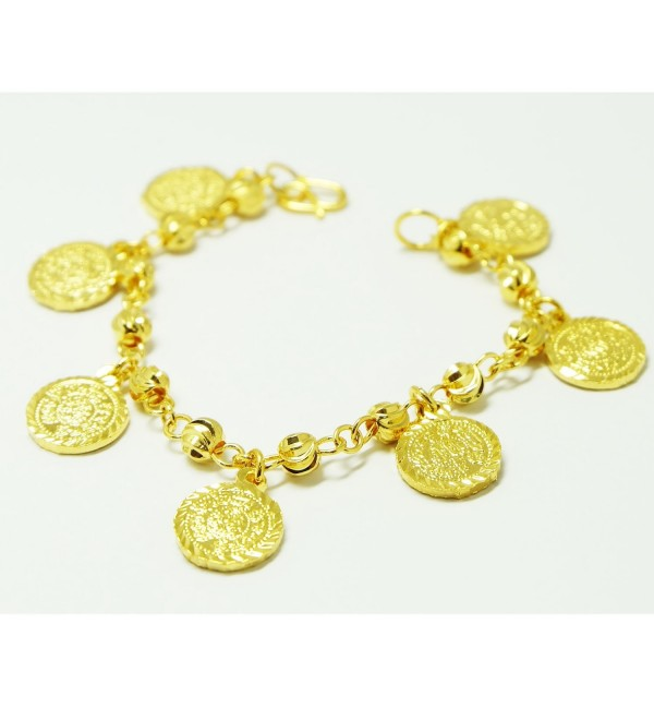 Coins Bracelets Bangle 18k 22k 23k 24k Thai Baht Yellow Gold Plated - C6121H248GN