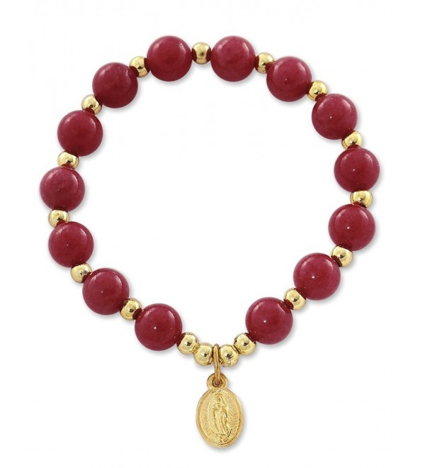 Our Lady of Guadalupe Medal Bracelet with Quartzite Dyed Dark Red Beads - 2 Inch - CA11S9BRXI1