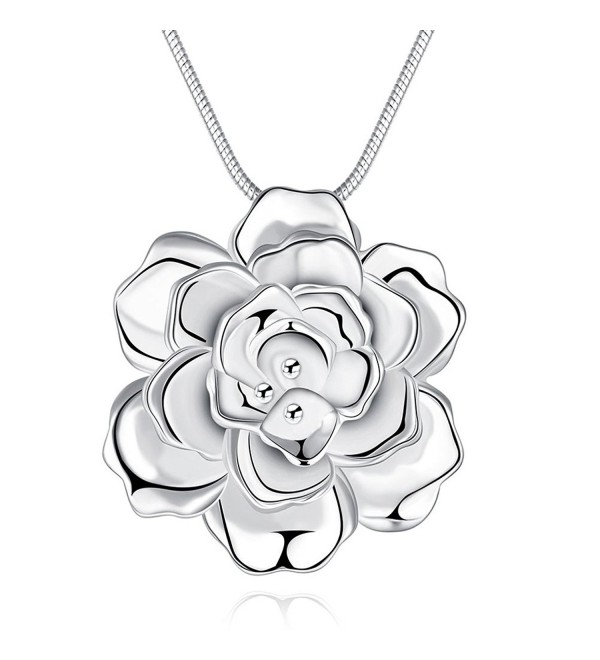 SunIfSnow Women Large Silver Plated Romantic Rose Flower Pendant Necklace - CC12ESSWK27