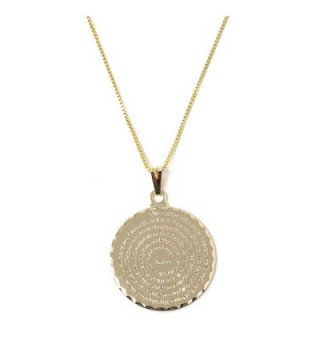 Our Father Prayer Necklace Gold Plated Sterling Silver Padre Nuestro Pendant Necklace - CN12LZBQXUP