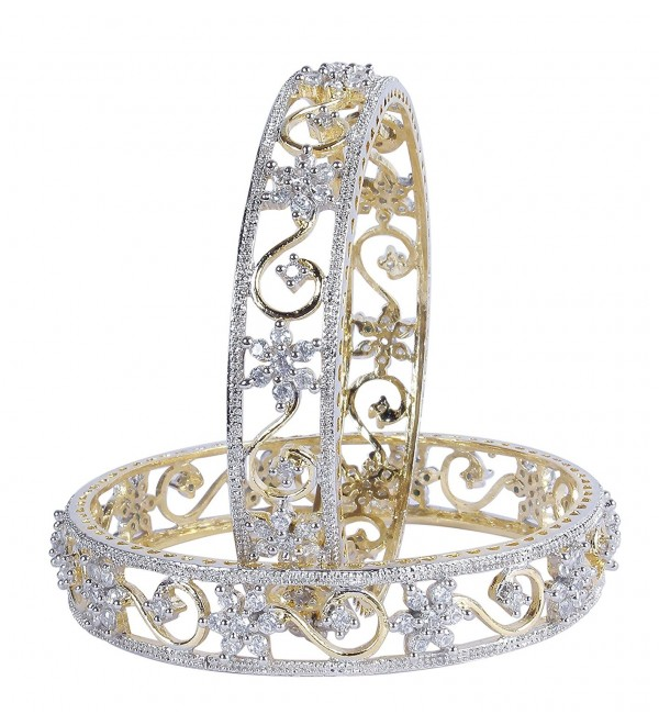 BeautifulFloral Shape Gold Tone Indian Bangles Traditional Partywear  Jewelry - C518746L8A0