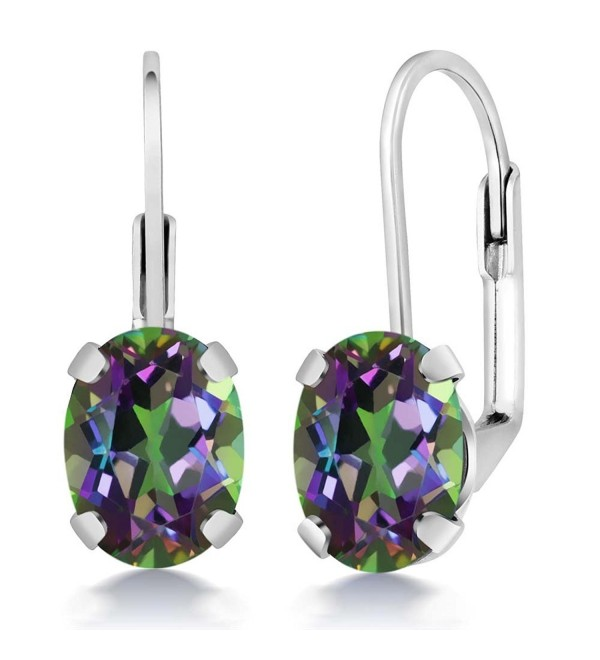 Mystic Topaz Earrings 925 Sterling Silver Oval Green Leverback 3.20 Ct - CP11FX1W9D9