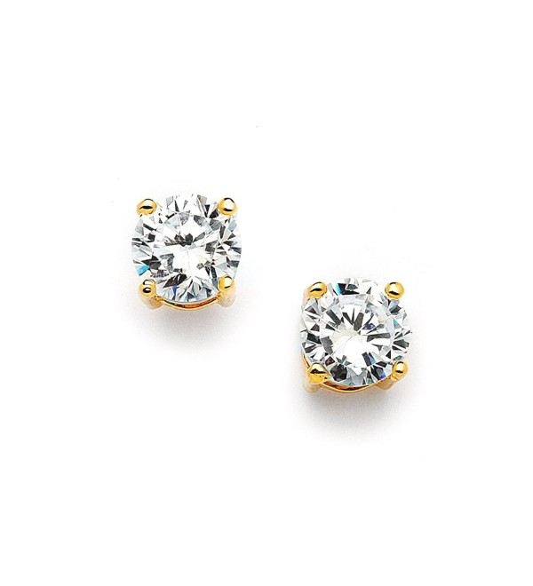 Mariell 2 Ct. Cubic Zirconia Stud Earrings -14K Gold Plated 8mm Round Cut CZ Simulated Diamond Studs - C711ZPBBK55