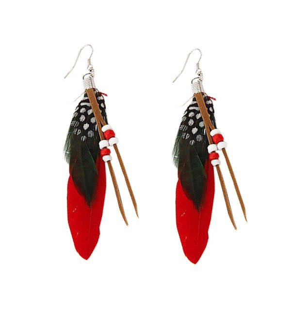 MFIIDEN Feather Earrings National Style Fashion Wild Ear Jewelry Simple Temperament Tassel Earrings Red - C8186KC4L6Q