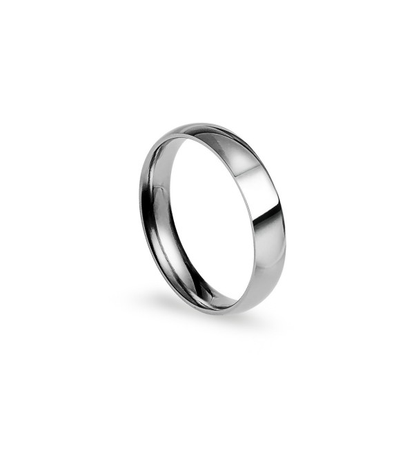 4mm Stainless Steel Comfort Fit Classic Wedding Band Ring Available in Sizes 4-12 W/ Free Gift Pouch - CZ12NGE8QN4