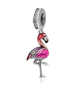 925 Sterling Silver Dangle Animal Charm with CZ Stone Pendant Charm for 3mm Snake Chain Bracelets - Flamingo - CM185K76H9T