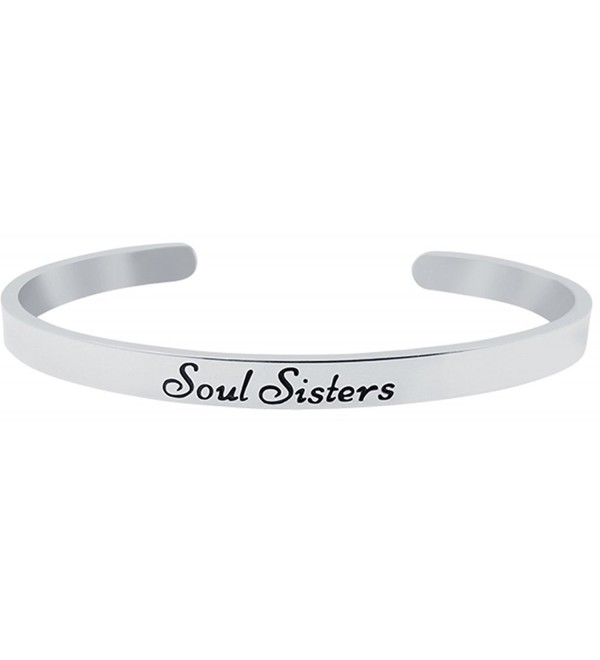 SOUL SISTERS Inspirational Mantra Cuff Bracelet for Best Friends- BFF Besties - Friendship Gifts - CC1879NKHZE