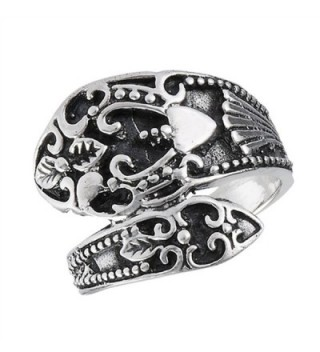 Oxidized Vintage Filigree Heart Spoon Ring Sterling Silver Thumb Band Sizes 7-10 - CJ182M393IS