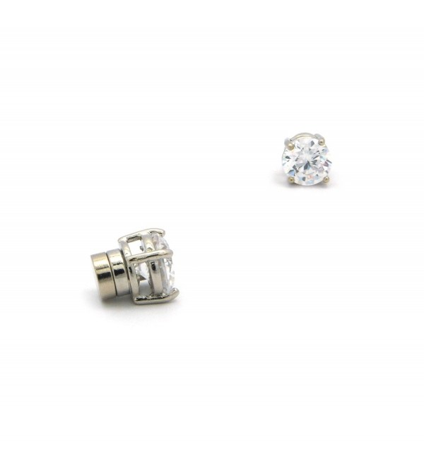 New 6mm Clear Round Cubic Zirconia Stud Magnetic Plated Fashion Earrings CZRM-R - CI11N5NYQ8N
