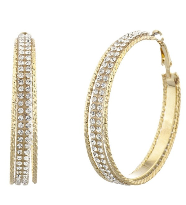 Lux Accessories Goldtone and Crystal Pave Double Row Cutout Hoop Earrings - CM12LHE3Z8X