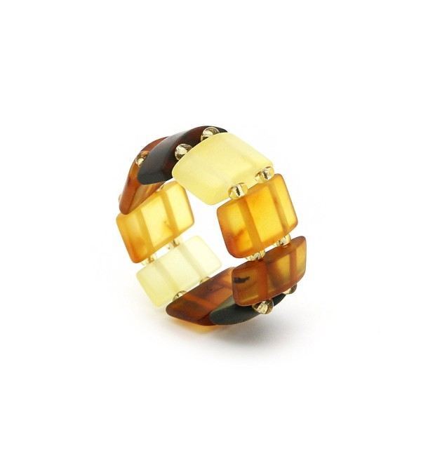 Genuine Natural Baltic Amber Adjustable Stretch Ring for Women - Mix / Matt - CD11UIMIBHB