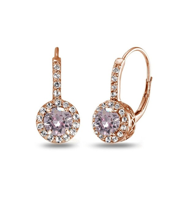 Rose Gold Flashed Sterling Silver Halo Leverback Drop Earrings created with Swarovski Crystals - June - Pink - CV185TARGHM