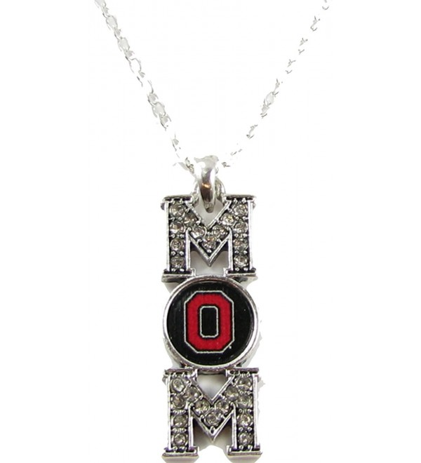 Ohio State Buckeyes Mom Clear Crystal Silver Necklace Jewelry Mothers Day OSU - C611PHO4NUT