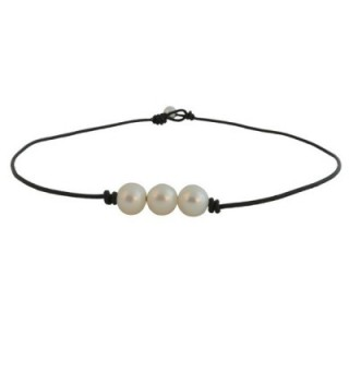 Bodai Freshwater Pearl Necklace Choker on Genuine Leather Cord for Women Girls - C5184QSTRAL