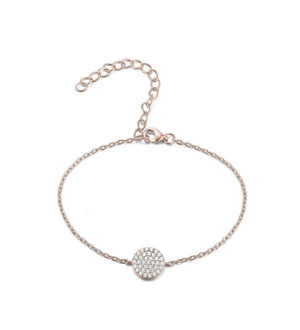 PAVOI 14K Gold Plated Cubic Zirconia Circle Dot Bracelet - CQ12N6L54X7