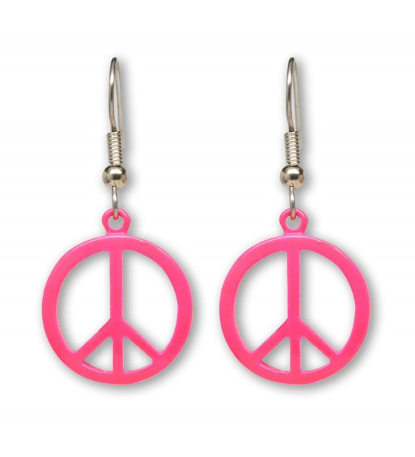 Neon Hot Pink Hippie Peace Sign Dangle Earrings - CZ11HODT261