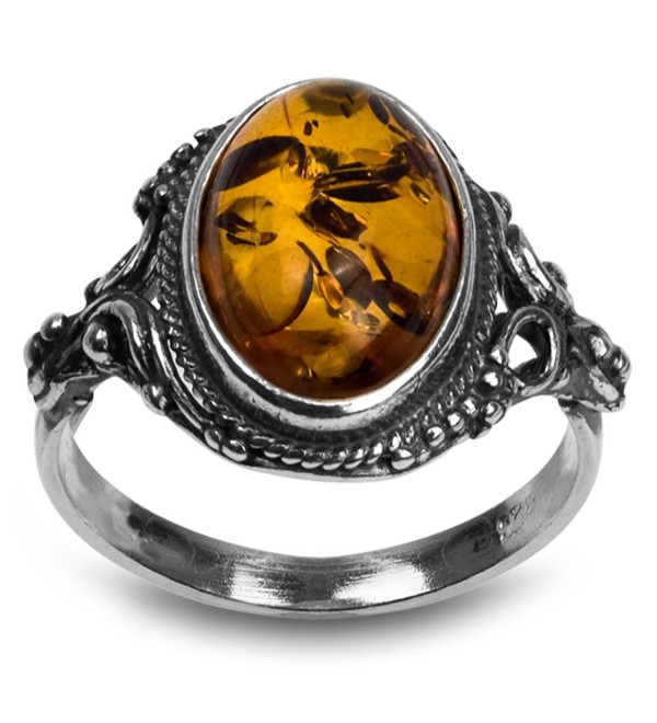 Sterling Silver Amber Oval Ring - CQ11FDBSU9B