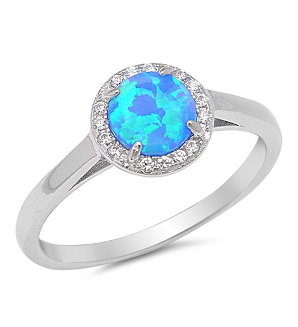 CHOOSE YOUR COLOR Sterling Silver Round Halo Ring - Blue Simulated Opal - CY12HBSIZ1L