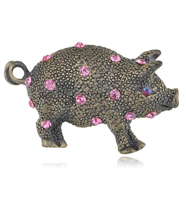 Alilang Antique Brass Tone Pink Rhinestones Vintage Inspired Baby Pig Piggy Bank Brooch Pin - CT114O4U08R