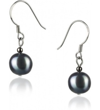 PearlsOnly - Teresa 8-9mm A Quality Freshwater 925 Sterling Silver Cultured Pearl Earring Pair - black - CN115F9ILV3