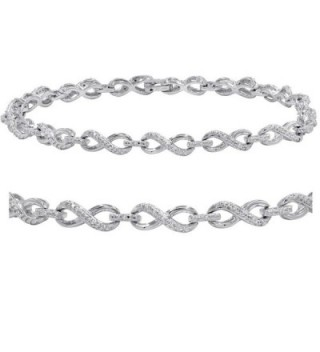 AGS Certified 1/10ct TW Diamond Infinity Tennis Bracelet in .925 Sterling Silver - CS188UK3CY6