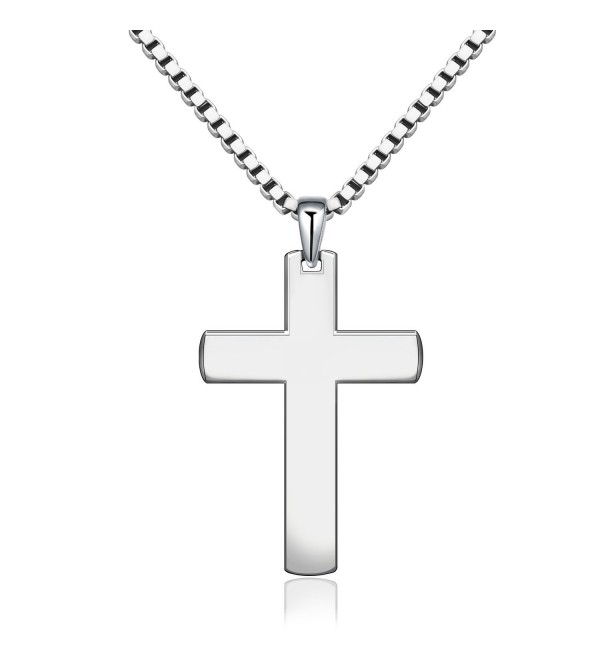 "Classic Cross Necklace for Unisex Men Women 925 Sterling Silver 20"" Box Chain - C2189X6RLWQ"