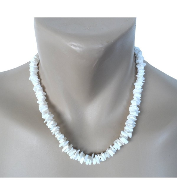 "20"" Hawaiian Shell Necklace White Chips Puka Surfer Beach Choker - CZ11VNLNHWZ"