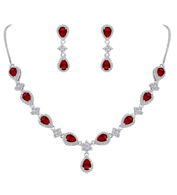 EleQueen Silver tone Zirconia Teardrop V Necklace - Ruby Color - Necklace Earrings Set - CA186XSWTAS