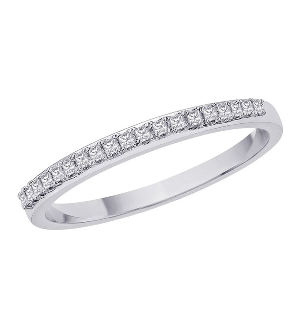 Princess Cut Diamond Anniversary Wedding Band Stackable Ring in Sterling Silver (1/10 cttw) - CZ117KLX8SP