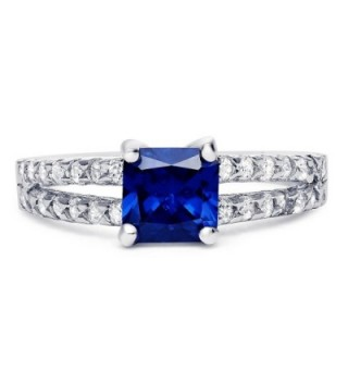 Sterling Silver Square Simulated Blue Sapphire with Clear Cubic Zirconia Ring- 6mm - C012JD9OL9L