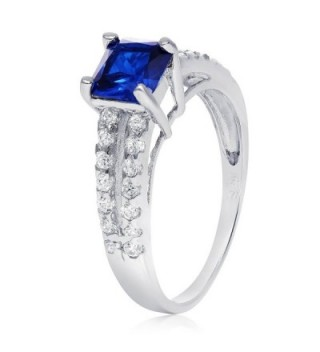 Sterling Silver Simulated Sapphire Zirconia in Women's Band Rings