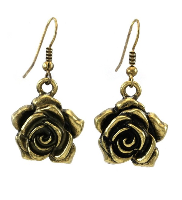 Flower Rose Dangle Earrings Fashion Jewelry - CD110UTCCX1