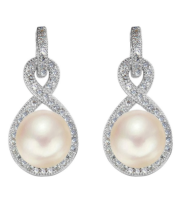 EleQueen 925 Sterling Silver CZ Cream Freshwater Cultured Pearl Teardrop Layer Bridal Hook Earrings Clear - CE12DKN4MXB
