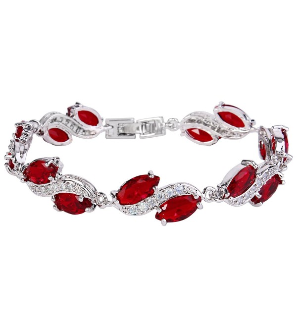 EleQueen Women's Silver-tone Full Cubic Zirconia Marquise Leaf Roman Tennis Bracelet Sapphire Color - Ruby Color - C412HP1U55N