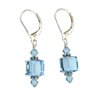 Sterling Silver Leverback Earrings 8mm Cube Made with Swarovski Crystals - CC11G6DGXLH