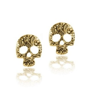 Antiqued Gold Floral Sugar Skull Post Earrings [D&iacutea de los Muertos] - CY182L5Z8SO