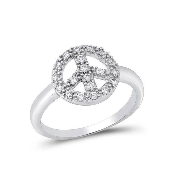 Sterling Silver Cz Peace Sign Ring (Size 4 - 9) - C4117D0YXZF