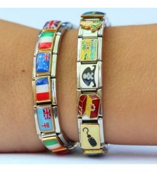 "Italian Charm Link Bracelet 8 1//2/"""