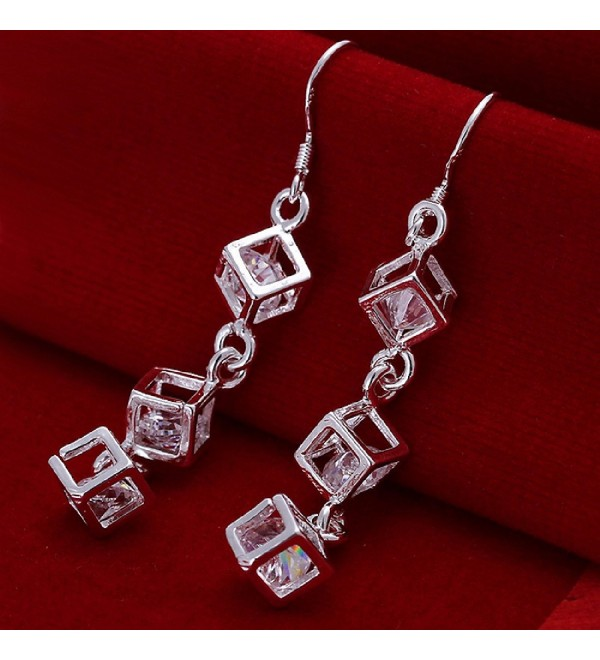 Tzou Women's Square Cubic Zirconia Bow Earrings - CE11N2EQPXT
